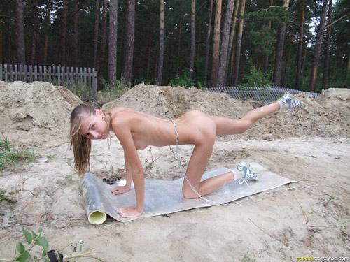 Chained nude sport pet does outdoor special exercises